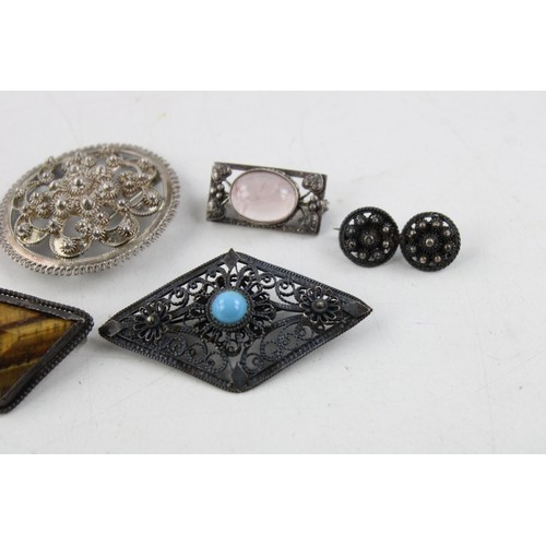 42 - 6 x Vintage .925 Sterling Silver BROOCHES inc. Gemstone, Filigree (45g)...