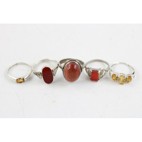 43 - 5 x .925 Sterling Silver RINGS inc Sandstone, Carnelian, CZ, Solitaire (15g)...