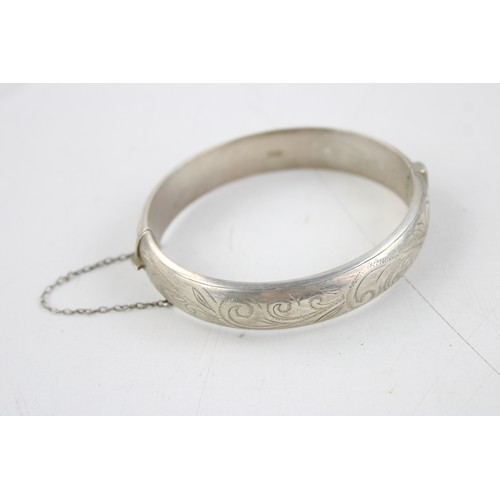 44 - 3 x .925 Sterling Silver BANGLES inc Engraved Design, Wide, Foliate (83g)...