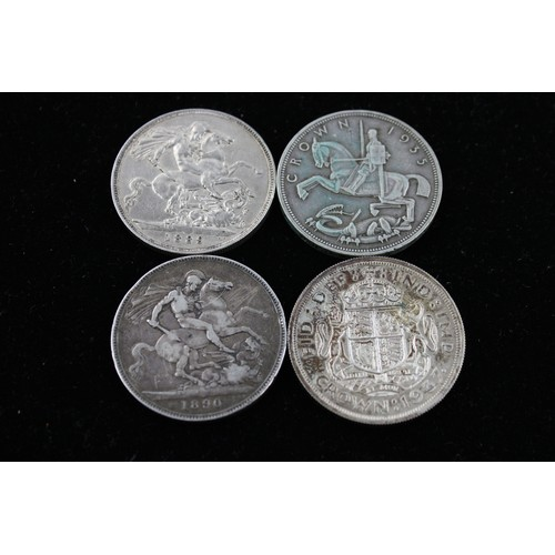46 - 4 Antique / Vintage SILVER Crown Coins Inc Victoria, 1889, 1890, 1935, 1937 113g...