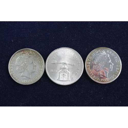 47 - 3 x Vintage SILVER COINS Inc £2 Crowns, Mexican Silver Troy Ounce Coin (98g)...
