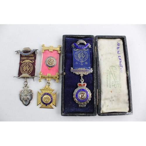 48 - 3 x Vintage .925 STERLING SILVER Masonic RAOB Medals / Jewels Inc. Hallmarks 99g...