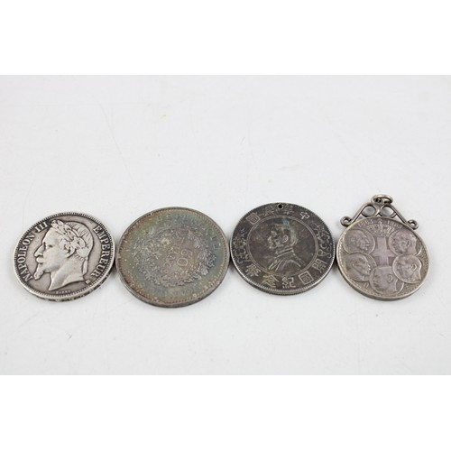 50 - 4 x Mixed SILVER Coins Inc 1869 French 5 Francs, 1978 50 French Francs (100g)...