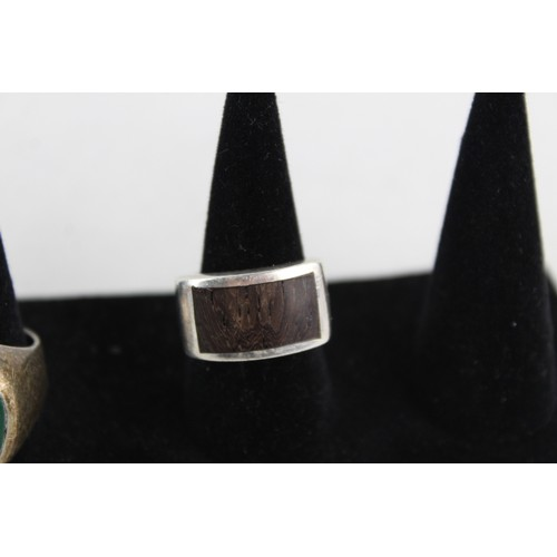 54 - 3 x Vintage .925 Sterling Silver SIGNET RINGS inc. Intaglio, Wood (29g)...
