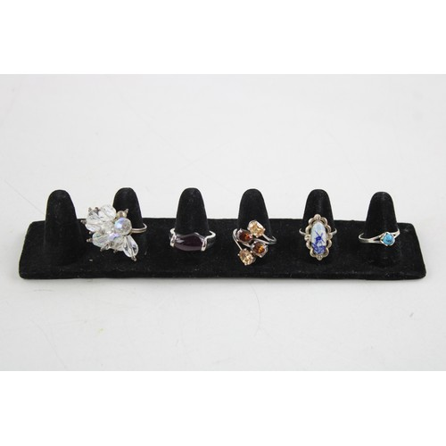 55 - 5 x .925 Sterling Silver QUIRKY RINGS inc. Delft, CZ, Fancy, Unusual (28g)...