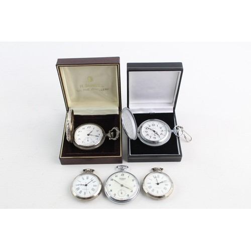 60 - 5 x Vintage Gents POCKET WATCHES Hand-Wind WORKING Inc Sekonda, H Samuel Etc...