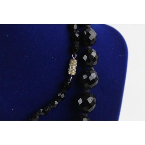 40 - True Vintage & Antique JET NECKLACE Faceted, Graduated, Long, 79cm (70g)...