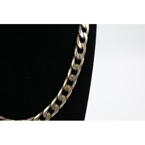 55 - Heavy .925 Sterling Silver NECKLACE w/ Large Curb Links, 56cm  (157g)...