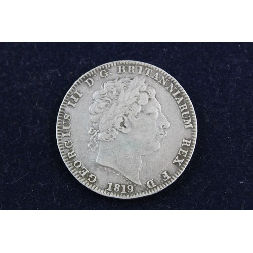 80 - Pre 1920 George III SILVER Crown COIN Dated 1819 (28g)...