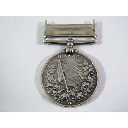 393 - VICTORIAN CANADIAN SERVICE MEDAL WITH BAR FENIAN RAID 1866...