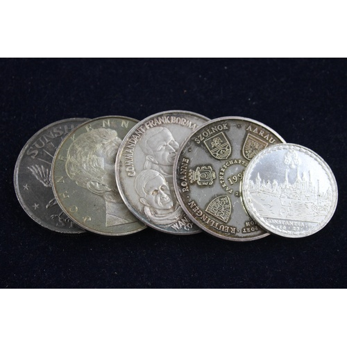 41 - 5 x Vintage .999 FINE SILVER Commemorative Crown Coins Inc Sunshine Mining 117g...