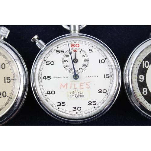 115 - 3 x Vintage Gents STOP / POCKET WATCHES Hand-Wind WORKING Inc Lemania Nero Etc...