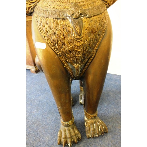 500 - VINTAGE BRONZE FOO DOG GUARDIAN LION STATUE APPROX 2ft TALL...