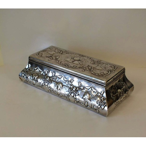 4 - ANTIQUE STERLING SILVER REPOUSSE CHERUB ANGEL JEWELLERY BOX LOCKS WITH KEY, WILLIAM COMYNS LONDON SI...