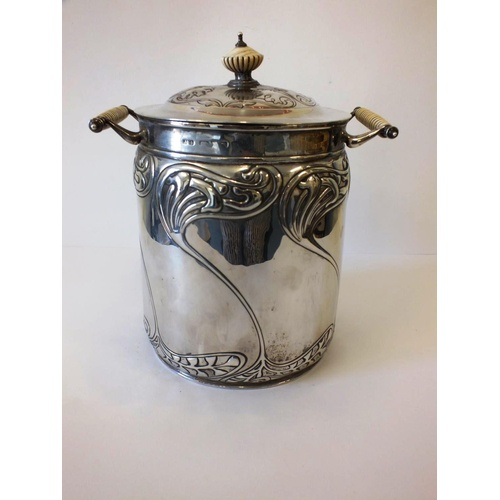 35 - ANTIQUE STERLING SILVER ARTS AND CRAFTS CADDY BY JOHN MILLWARD BANKS C1894 WEIGHT -686G HEIGHT APPRO...