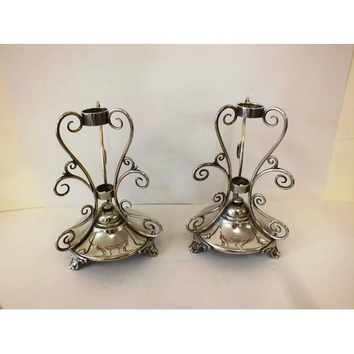 61 - PAIR OF ANTIQUE EDWARDIAN STERLING SILVER EPERGNES CANDLESTICKS WITH FOOTED BASE SHEFFIELD MAKER WAL...