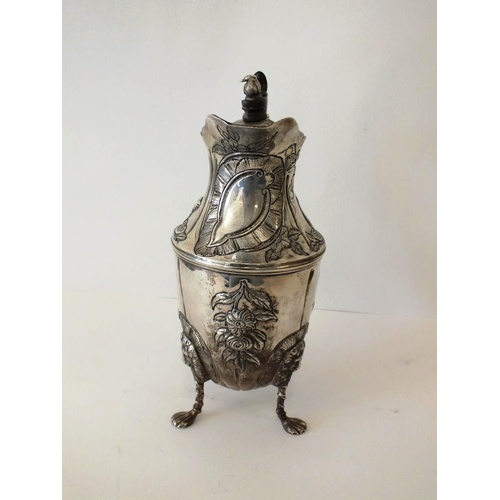 92 - VICTORIAN STERLING SILVER WATER EWER DECORATED WITH ANIMALS WEIGHT 560G HEIGHT 9.5