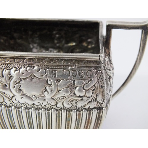 96 - ANTIQUE VICTORIAN STERLING SILVER FOUR PIECE TEA AND COFFEE SET COMPRISING OF TEAPOT 323G, COFFEE PO...