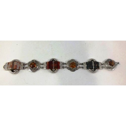201 - STUNNING VICTORIAN SCOTTISH SILVER, AGATE AND GLASS STONE BRACELET LENGTH 8