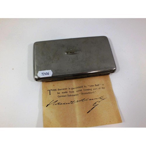 348 - VINTAGE COLLECTABLE CIGARETTE CASE MADE FROM METAL FROM GERMAN SUBMARINE...