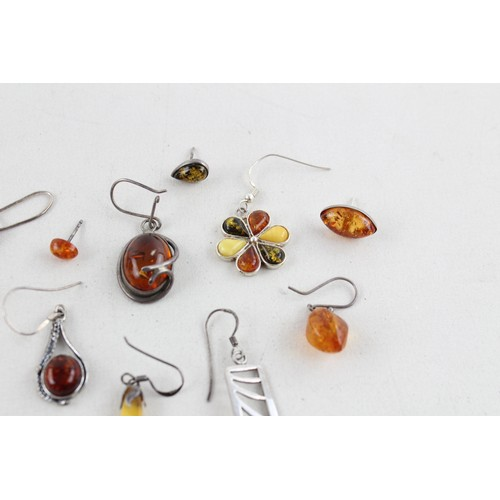 2 - .925 Sterling Silver ODD EARRINGS inc. Mixed Amber, Studs, Drops (29g)...