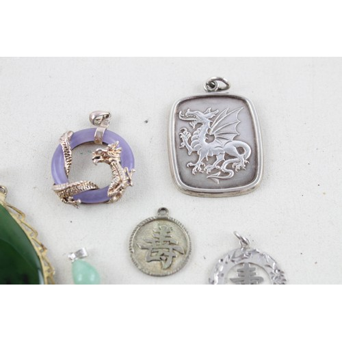 3 - 7 x Vintage .925 Sterling Silver PENDANTS inc. Jade, Chinese, Dragon (49g)...