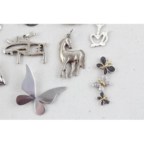 4 - 10x Vintage .900 &.925 Silver Animal Pendants w/Cats, Dolphin, Moonstone(35g)...