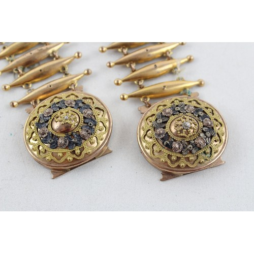 14 - Stunning Georgian Gold Plated Ornate Floral Wedding Cuffs, Boxed...