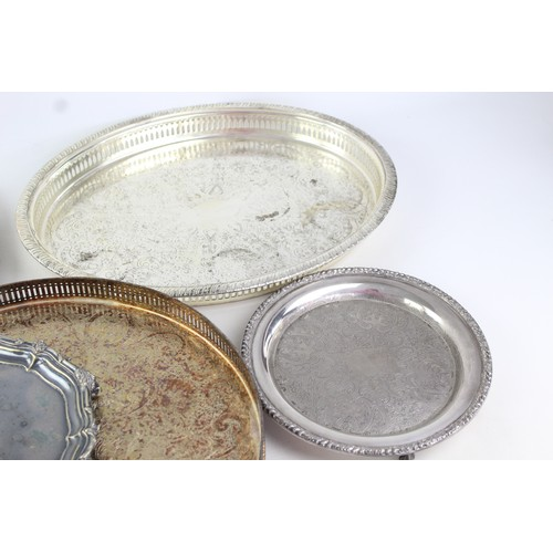 35 - 6 x Vintage SILVER PLATE Trays Inc. Claw Footed, Viners, Gallery, Round (4736g)...