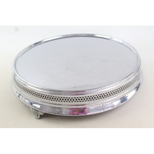 36 - Vintage Large Round Chrome Footed Party / WEDDING CAKE STAND (2027g)...