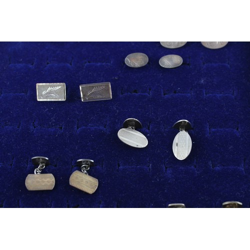 7 - 7 x Vintage .925 Sterling Silver CUFFLINKS inc. Gold on Silver, Etched (56g)...