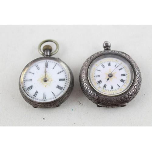 8 - 2 x Vintage Ladies .935/.925 SILVER Cased Fob Watches Hand-Wind & Key-Wind (65g)...