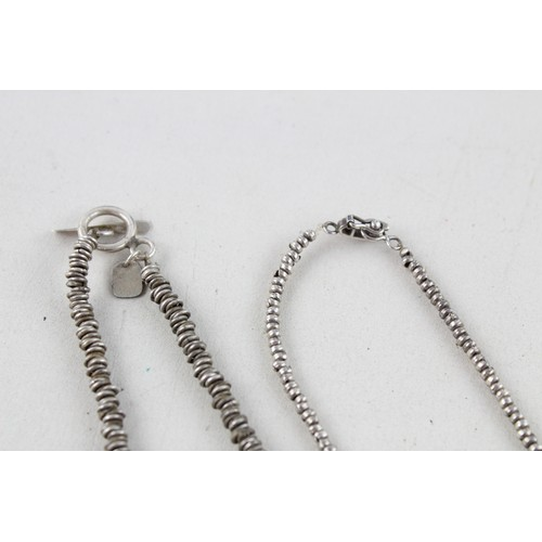 38 - 2 x Vintage .925 Sterling Silver NECKLACES inc. Hiho, Ring Link, T Bar (55g)...