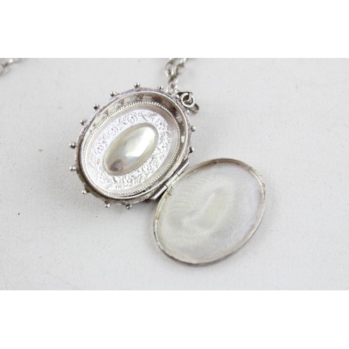 9 - Antique .925 Sterling Silver LOCKET w/ Scalloped and Floral Detail, Chain (19g)...