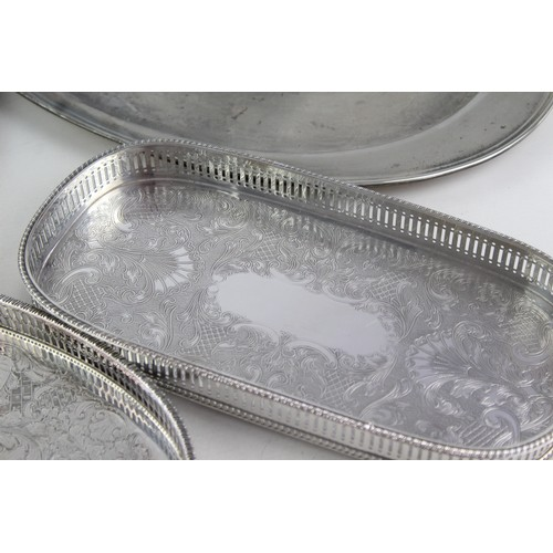 20 - 5 x Vintage SILVER PLATE Trays Inc. Viners, Gallery, Oval, Circular Etc (3260g)...