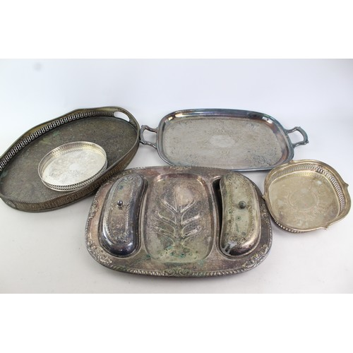 40 - 5 x Vintage SILVER PLATE Trays Inc. Galleon, Twin Handle, Gallery Etc (5668g)...