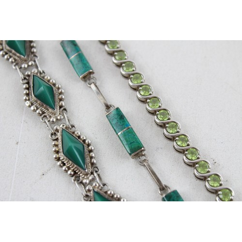 51 - 3 x Vintage .925 Sterling Silver BRACELETS inc. Mexico, Chrysocolla,Tennis (38g)...