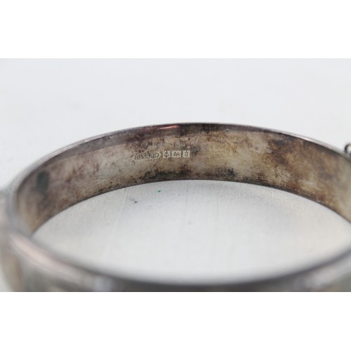42 - 2 x Vintage .925 Sterling Silver Hinged BANGLE w/ Etched, Foliate, 1977/65 (44g)...
