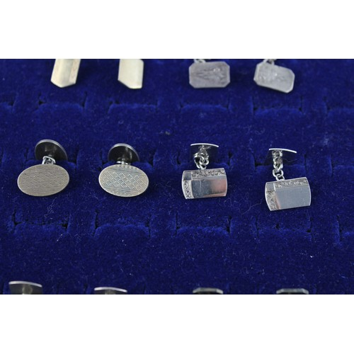 44 - 6 x Vintage .925 Sterling Silver CUFFLINKS inc. Gold on Silver, Etched (46g)...