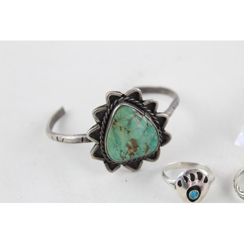 46 - 4 x Vintage .925 STERLING SILVER Navajo BANGLES & RINGS inc. Turquoise (35g)...