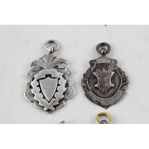 58 - 4 x Antique .925 STERLING SILVER Fobs / Medallions inc. Hallmarked (30g)...