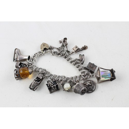 50 - Vintage .925 Sterling Silver Charm BRACELET w/ Nuvo, Opening Charms (62g)...