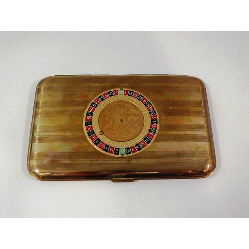 198 - RARE 1940'S MAJESTIC BRASS ROULETTE WHEEL CARD CASE/ CIGARETTE HOLDER IN VERY GOOD CONDITION...