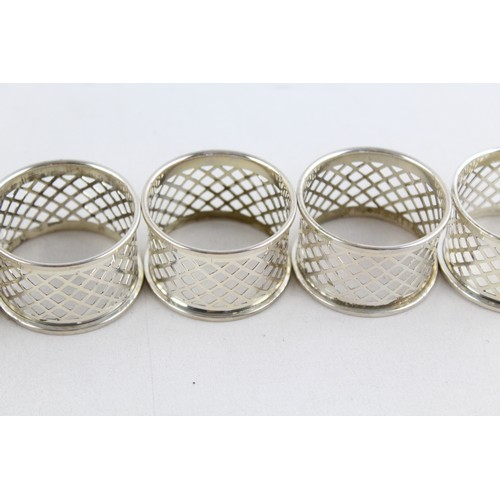 22 - 6 x Vintage Stamped .925 STERLING SILVER Napkin Rings By Broadway & Co (81g)...
