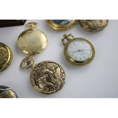 90 - 14 x Gents Collectable QUARTZ POCKET WATCHES Inc. Transport, Horses, Cutty Sark...