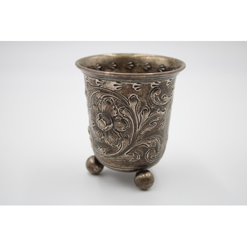 243 - Antique / Vintage .800 CONTINENTAL SILVER Drinking Cup w/ Ball Feet (87g)...