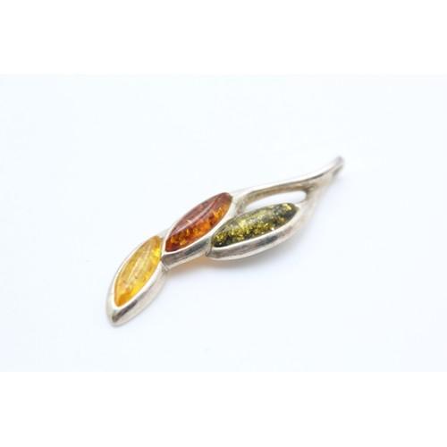 1 - Silver Amber Drop Pendant...