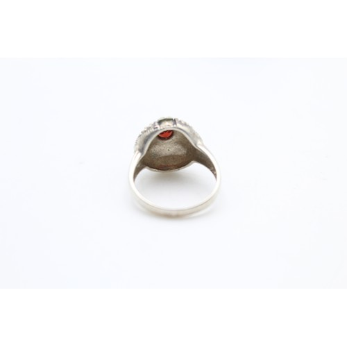 11 - Sterling Silver Marcasite And Garnet Ring...