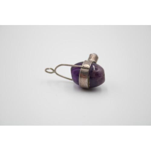 31 - Sterling Silver Polished Amethyst Egg Pendant Boho...
