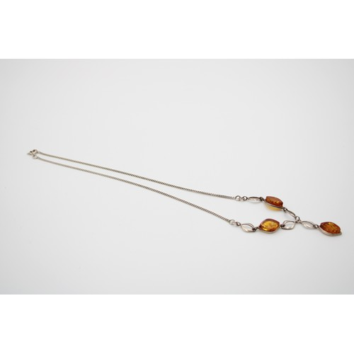 3 - Sterling Silver Drop Baltic Amber Pendant Necklace...